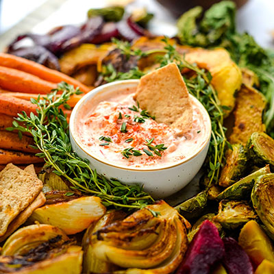 Roasted Autumn Vegetables With Harissa Yogurt Dip